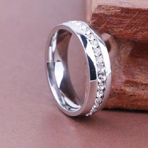 Crystal Stainless Steel Ring Size 8